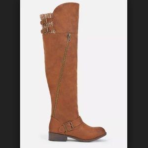 JustFab Zarabella Brown Cognac Over the Knee Boots